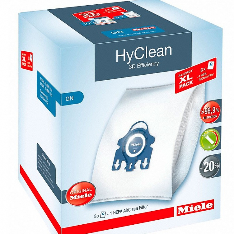 Комплект 8 шт. мешков HyClean GN и Фильтр, арт. XL Pack GN